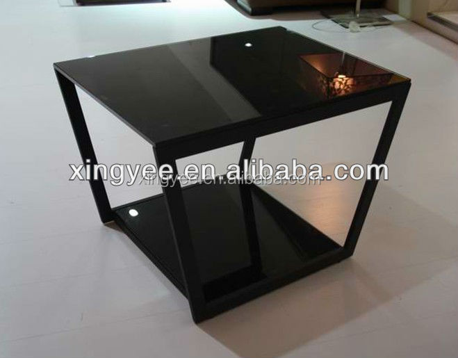 Modern Living Room Home Furniture Black Stained Glass Coffee Tables Square Elegant Coffee Table