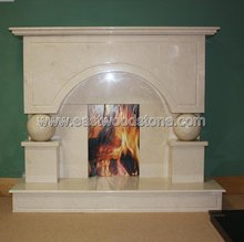 polished yellow marble electric fireplaces