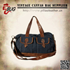 Front pockets canvas men tote bag with leather trim