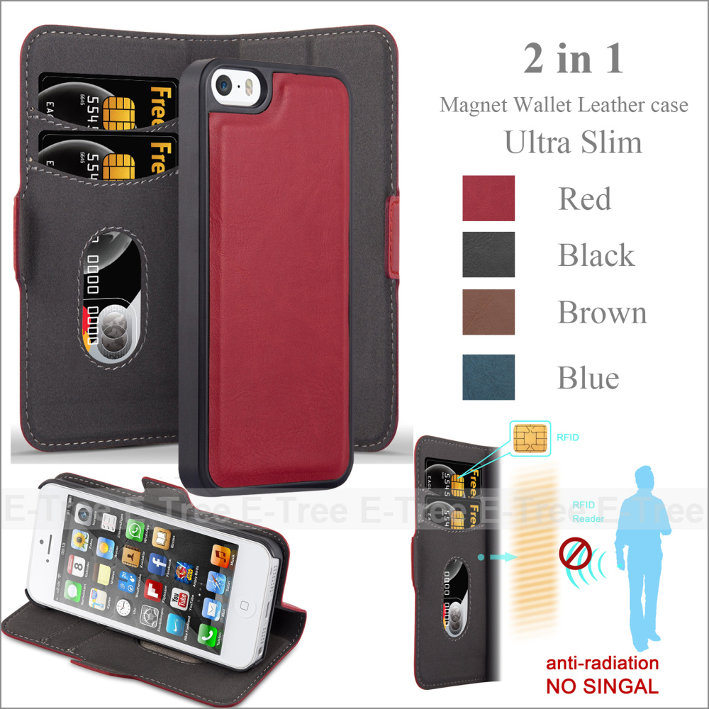 2in1 Magnet Leather Wallet Mobile Phone Case Back Cover For iPhone 5 5s