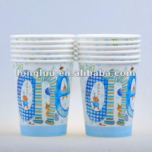 Popular cheap 9oz paper coffee cup for boy's birthday party
