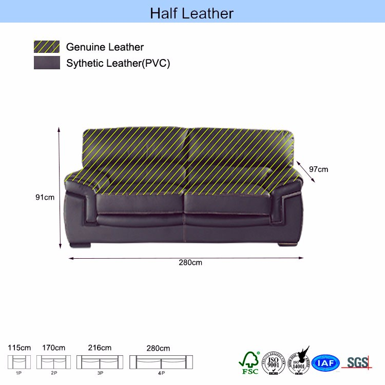 Semi-aniline mixed color pu sauna sectional sofa