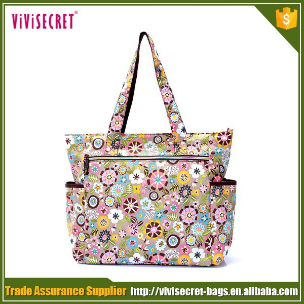 2016 latest lady fashion fabric handbags with flower printing