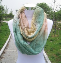 Stock Style !!! Womens Fashion Voile World Map Scarf Scarves Wholesale