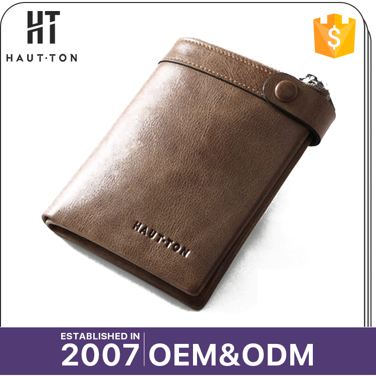 HAUTTON New Style Popular Men's Vertical Card Wallets High Quality Custom Logo Genuine Top Cow Leather Wallet