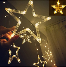 Fashion Beautiful Warm White Stars LED String Lights, Star Christmas Wedding Party Curtain Fairy String Holiday Lights