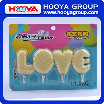 HW48388 Lovely LOVE shapes adhesive wall hanging hook