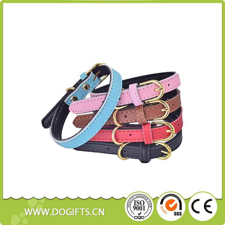 Genuine Leather Dog Collar Light Strip Leather Dog Collar Chain with Alloy Gold Buckle Dog Leashes and Collars Dogift0691