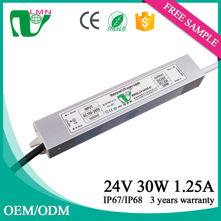 24V 30W electronic waterproof dimmable led driver