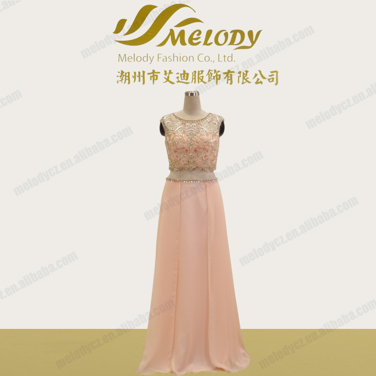 Beaded chiffon pink sleeveless slim waist two pieces ebay evening dresses