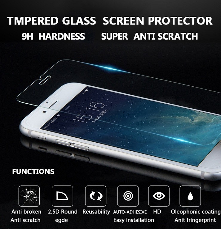 Transparant 0.33mm Glass anti scratch 9H hardness Mobile phone films tempered glass screen protector for iPhone