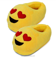Hot Selling new designs women and kids Emoji Plush Slippers /Cheap Plush Slippers