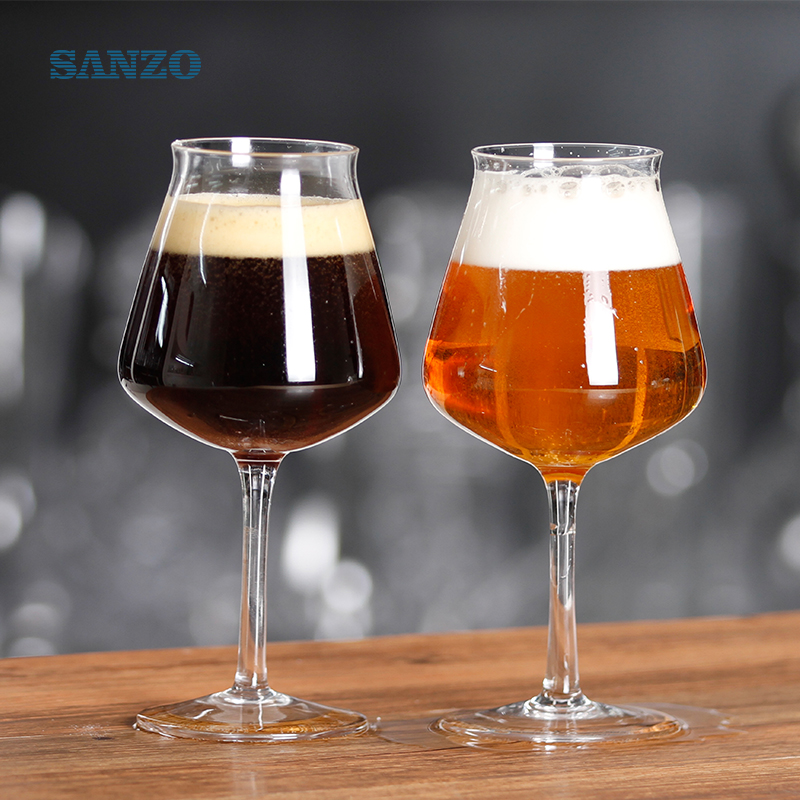 OEM long stem handmade crystal tulip beer glass for party