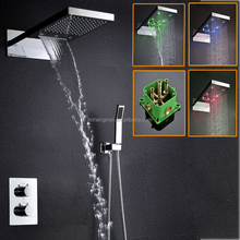 Thermostatic Bathroom Shower Faucet,Water Tempereture Control LED Shower set 3 color
