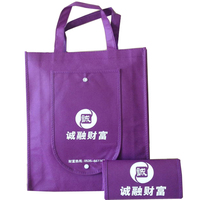 Wholesale fashional promotional reusable cheap eco-friendly printing pp non woven pocket folding bag
