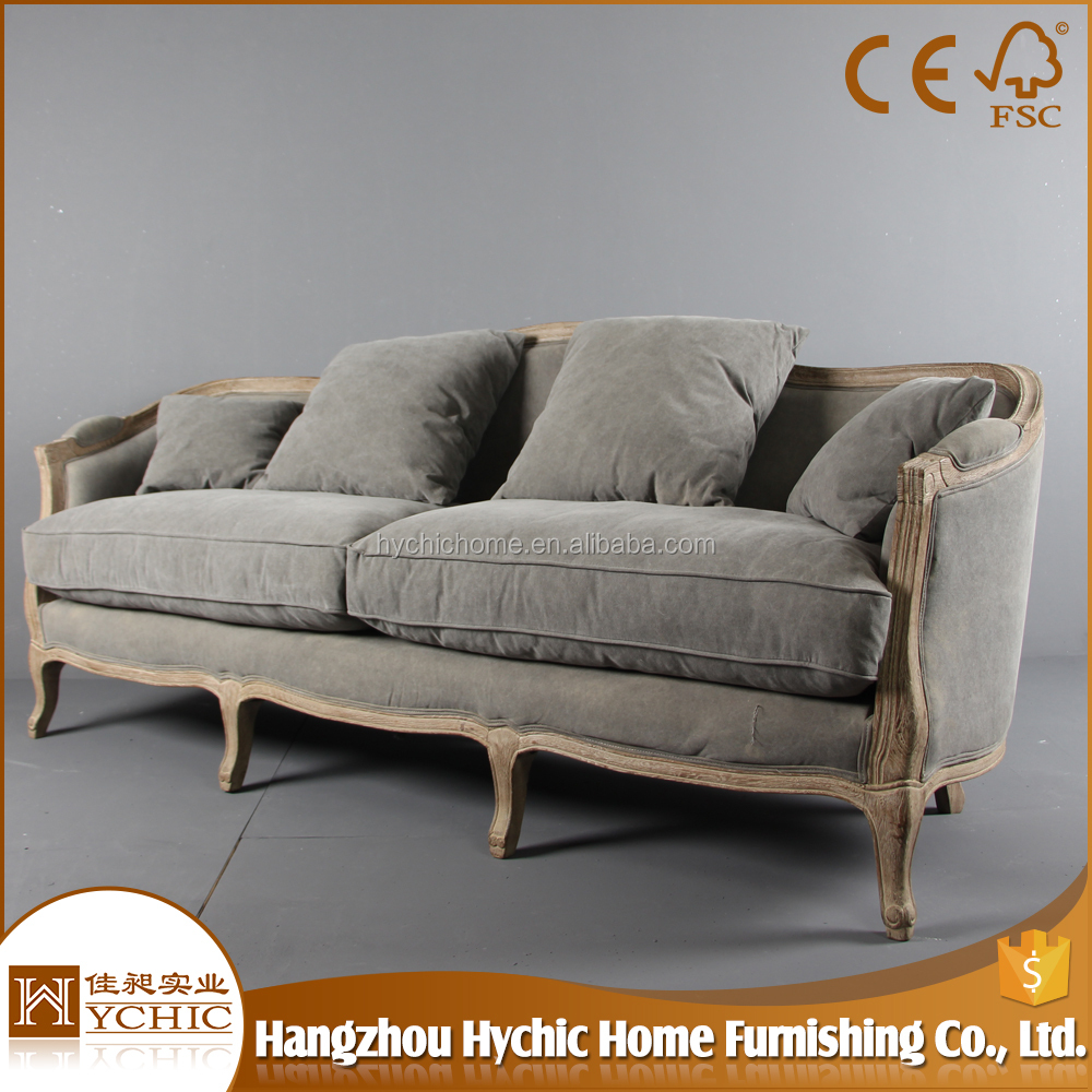 High back living room solid wood frame sofa