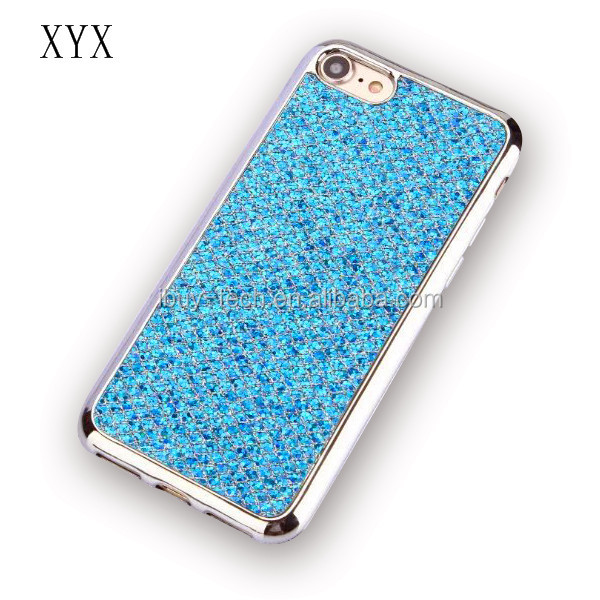Luxury bling glitter shining soft tpu beautiful mobile phone back cover TPU case for samsung s7 edge case shockproof