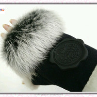 Warm Fingerless Rabbit Fur Lady Gloves