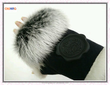 Warm Fingerless Rabbit Fur Lady Gloves for Winter OEM