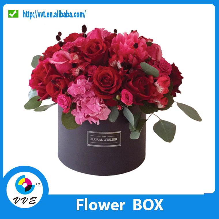Luxury Paper Tube Gift Packaging Flower Box ,Round Fresh Flower Paper Box Inside With Envelope And Paper Card