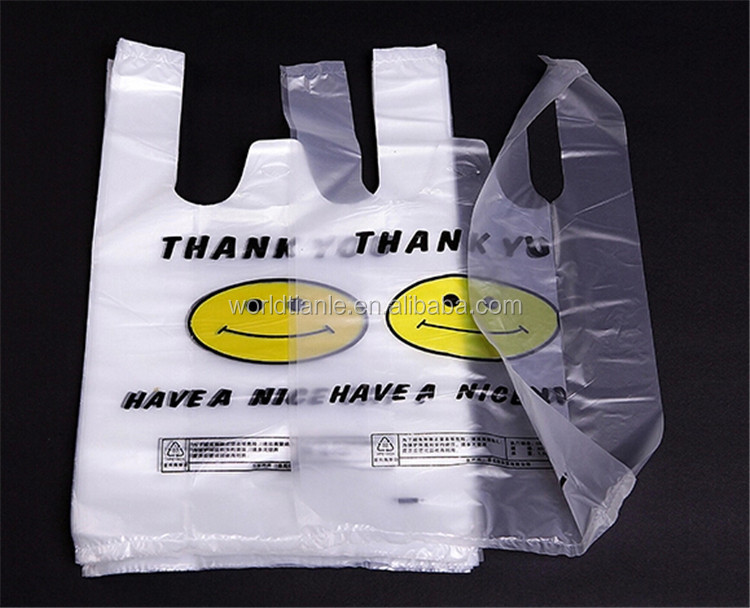 Hot sales HDPE happy face t shirt bag High Quality T shirt Shopping Plastic Bag supplier
