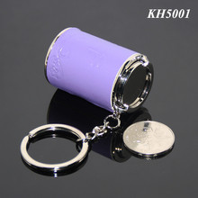 RANDOM MIX COLORS Leather Cover 17PCS Coins Holder Alloy Coin Bottle Metal Spring Mini Coin Purse Container Money Box Keychain