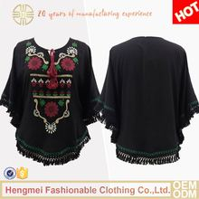2017 New design black embroidery ladies cotton tops blouse