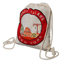Customized 8oz cotton calico drawstring bag for team activity