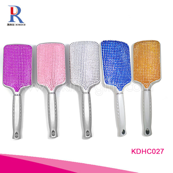 Goods in stock diamond Inlaid hair brush design your own logo Hair Paddle Brush