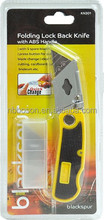 folding lock back free sample knife with abs handle