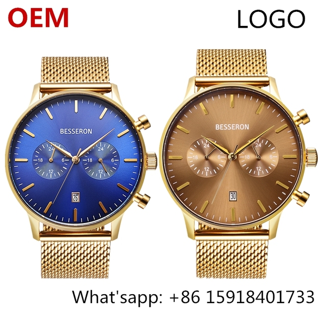 Customized dual time watch branded sport 6 time zone watch 2018 new model watches trend products gold luxury wristwatch