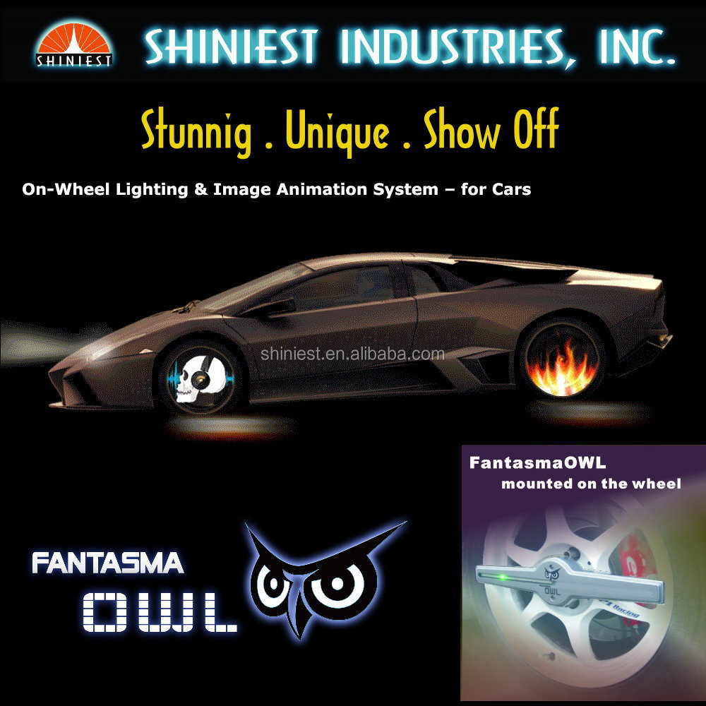 "2015 Newest Stylish 17"" Programable WL-1702R Fantasma OWL On Wheel Lighting for your car"