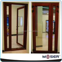 Oak wood single panel door design for entrance