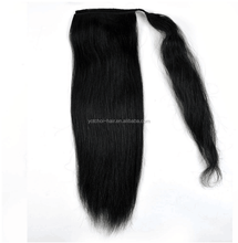 Hot Selling Wholesale Unprocessed Natural Black Long Human Hair Drawstring Ponytail