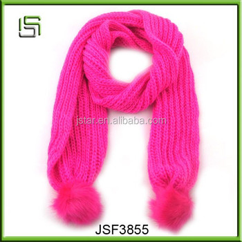 New fashion cheap winter pink scarf with tassels
