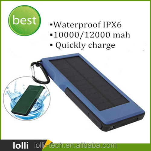 Quickly charger 3.0 outdoor waterproof solar power bank 5v/9v/12v, 10000 mah mobile charger with carabiner