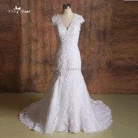 J--0020 short sleeve sequin crystal backlesslace sexy mermaid weding dress