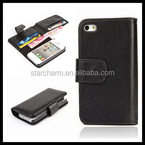In Stock Leather Purse New Leather Folding Wallet Case for iphone 5,Wallet Leather Case for iphone5