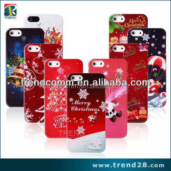 Christmas water transfer printing hard pc case for apple iphone 5 5s