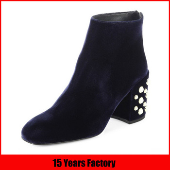 Alibaba wholesale genuine leather low price chunky heel women boots