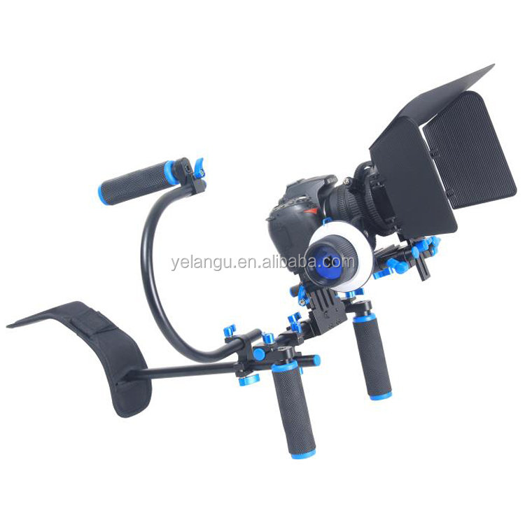 YELANGU Flexible Video Equipment DSLR Rig Support System Shoulder Mount +Matte Box + Follow Focus + C-Shaped Support Bracket