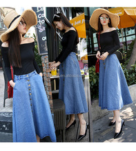 C21842B Women Long Design Denim Jeans Skirts