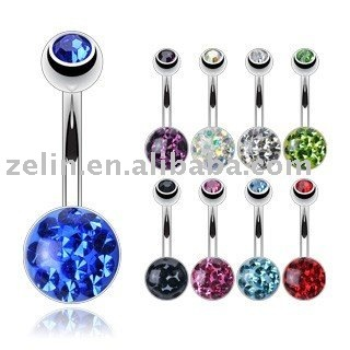 High quality epoxy crystal belly bar body piercing jewelry