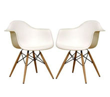White plastic armchair with wood Eiffel legs dining chair