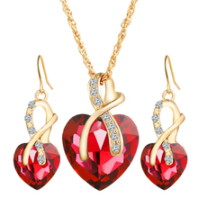 CS00424 JN wholesale Wedding fashion bridal charm heart Austrian crystal earrings necklaces jewelry set for women