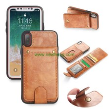Multifunction Card slot Retro Pattern stand flip skin leather tpu back cover case for iPhone X