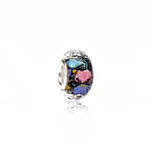 Colorful cartoon elephant print silver plated acrylic lampwork beads made in China wholesale