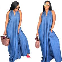 2018 Summer Women Casual Backless Halter Neck Loose Beach denim maxi dress with Pockets