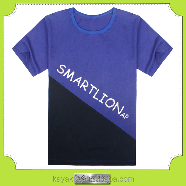 custom blue single color printing boys t-shirts design