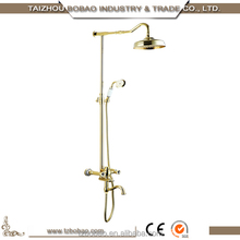 Luxurious Brass Gold Polish Dual Handles Brass Cartridge Cold And Hot Shiny Gold Coloured Bathroom Rain Shower Set Bath Faucet
